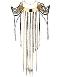 Topshop Premium Bow Spike Shoulder Necklace - Lyst