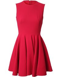 Alexander McQueen Stretch Crepe Wool Fluted Dress red - Lyst