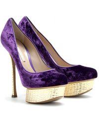 Nicholas Kirkwood Crushed Velvet Platform Pumps with Scalloped Goldtoned Platform and Heel purple - Lyst