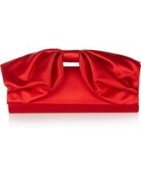 Valentino Bow Detailed Satin Clutch - Lyst