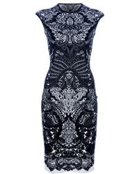Alexander McQueen Fitted Paisley Dress black - Lyst