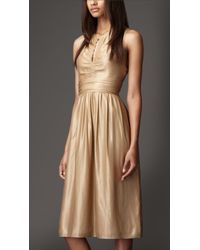 Burberry Keyhole Gold Dress - Lyst