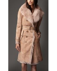 Burberry Long Shearling Trench Coat - Lyst