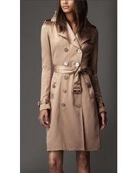 Burberry Long Silk Trench Coat - Lyst