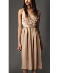 Burberry Pleated Vneck Silk Dress beige - Lyst