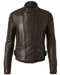 Lanvin Leather and Wool Biker Jacket - Lyst