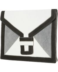 Topshop Oversized Leather Clutch white - Lyst