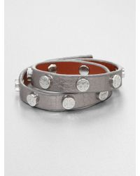 Tory Burch Double-Wrap Metallic Leather Bracelet/Silvertone - Lyst