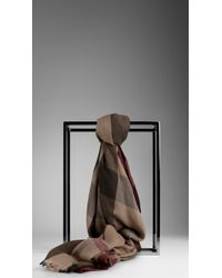 Burberry Mega Check Cashmere Scarf brown - Lyst