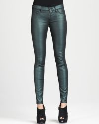 7 For All Mankind The Skinny Emerald Liquid Metallic Jeans - Lyst