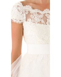 Marchesa Lace Dress with Tulle beige - Lyst