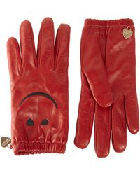 Boutique Moschino - Smiley Leather Gloves - Lyst