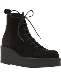 Y's Yohji Yamamoto - Laced Up Wedge Boots - Lyst