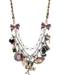 Betsey Johnson Goldtone Glass Accent Multicharm Frontal Necklace - Lyst