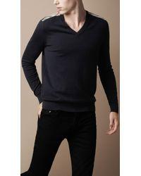 Burberry Brit - Check Shoulder Vneck Sweater - Lyst