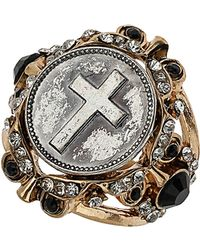 TOPSHOP - Cross Coin Ring - Lyst