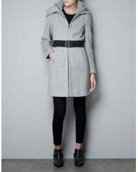 Zara Coat with Wrap-Around Collar - Lyst