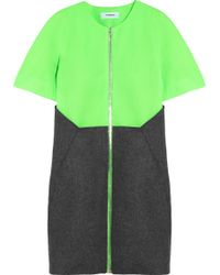 Chalayan Crop Pinch Neon Mesh and Woolfelt Dress - Lyst