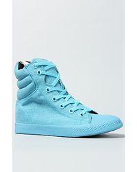 Betsey Johnson The Nexuss Sneaker in Blue Neon Canvas - Lyst