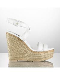 Ralph Lauren Collection Firana Leather Espadrille white - Lyst