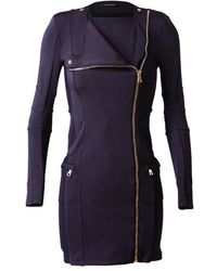Balmain Stretch Silkblend Military Dress blue - Lyst