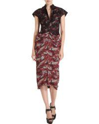 L'Wren Scott Lace Overlay Printed Dress - Lyst