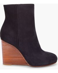 Maison Margiela Black Suede Plexi Wedge Boots black - Lyst