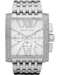 Michael Kors Oversized Silver Color Stainless Steel Gia Chronograph Glitz Watch - Lyst