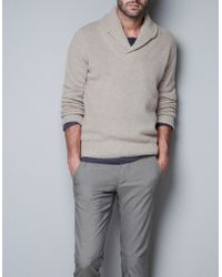 Zara Tuxedo Collar Sweater - Lyst
