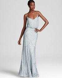 Adrianna Papell Beaded Gown Sleeveless Blouson blue - Lyst