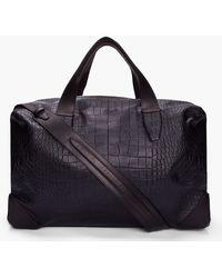Alexander Wang - Oversize Black Croc Embossed Leather Wallie Duffle Bag - Lyst