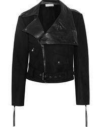 Donna Karan New York Wool-Blend Felt and Leather Biker Jacket - Lyst