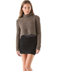 Kimberly Ovitz - Crop Turtleneck Chunky Sweater Smoke Melange - Lyst