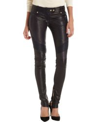 Balmain Leather Moto Pants black - Lyst