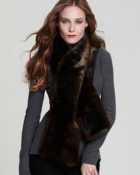 Rachel Zoe Mink Faux Fur Scarf brown - Lyst