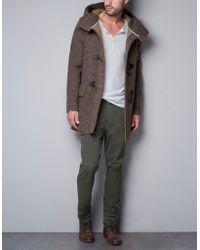 Zara Knit Three Quarter Length Coat with Hood - Lyst