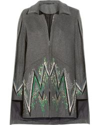 Matthew Williamson - Embroidered Wool-blend Capestyle Coat - Lyst