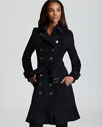 Burberry Littleton Double Breasted Coat with Ruffle Hem  - Lyst