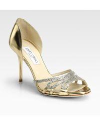 Jimmy Choo Mocha Glitter Metallic Leather Sandals - Lyst