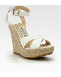 Jimmy Choo Paisley Patent Leather Espadrille Wedge Sandals - Lyst