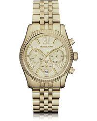 Michael Kors Mid-Size Golden Lexington Chrono Watch - Lyst