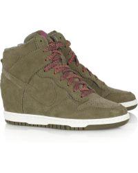 huge discount f510d 72a40 Nike - Dunk Sky Hi Suede Wedge Sneakers - Lyst