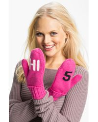 Kate Spade Big Apple Hi 5 Wool Mittens - Lyst