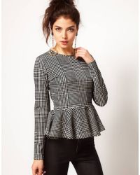 ASOS Collection Asos Top with Peplum in Dogtooth - Lyst