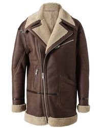 BLK DNM - Leather and Shearling Coat - Lyst