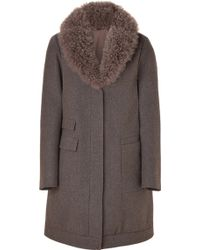 Brunello Cucinelli Wool Cashmere Blend Coat with Removable Fur Collar - Lyst