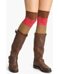 Hue Colorblock Over The Knee Socks brown - Lyst