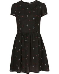 Topshop Floral Embroidered Flippy Dress - Lyst