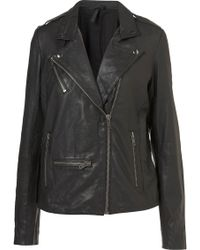 Topshop Longline Leather Biker Jacket By Boutique - Lyst