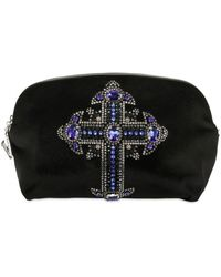 Versace Jeweled Cross Cotton Velvet Clutch black - Lyst